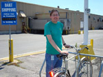 An employee at Dart Container uses his bike to make trips between company facilities during the work day.